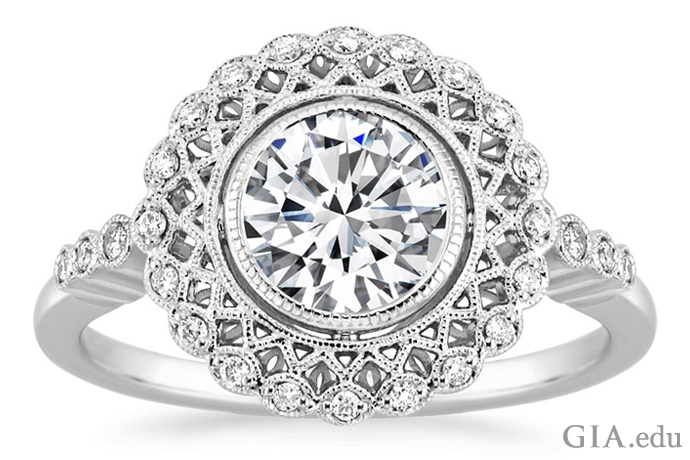 Latticework and a halo of shimmering diamonds – key motifs in vintage-inspired rings