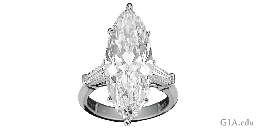 A striking marquise-shaped diamond engagement ring
