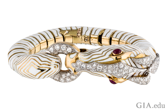 18K gold and white enameled zebra bracelet designed by David Webb