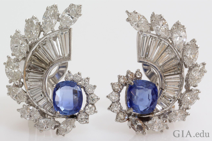 Art Deco sapphire and diamond earrings courtesy of Ruby Lane