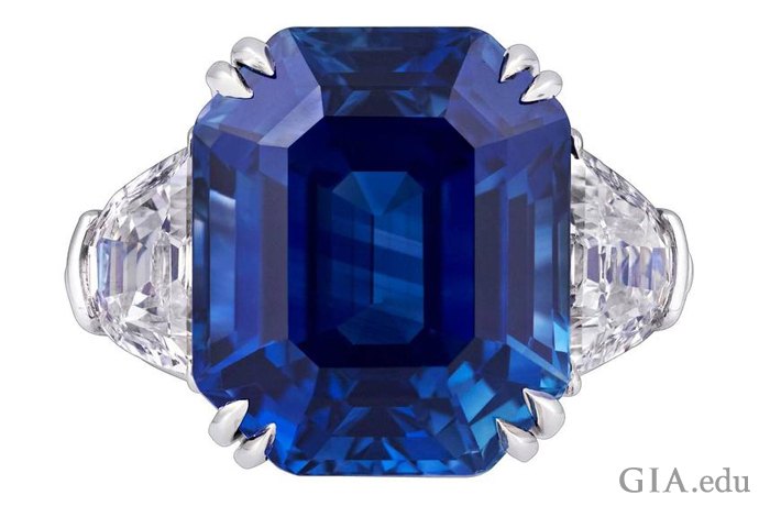 18.50 ct emerald-cut natural Kashmir sapphire and diamond ring set in platinum