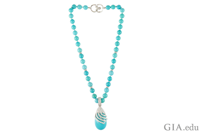 Turquoise necklace with artfully placed diamonds.