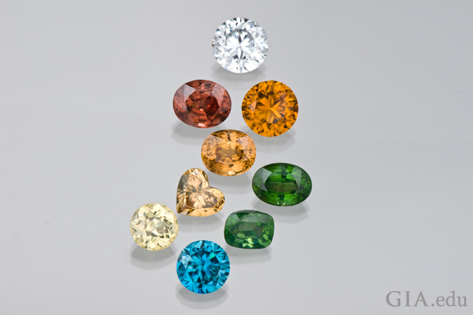 A colorful array of zircon from Sri Lanka, Cambodia, Thailand, Tanzania, and other locations.