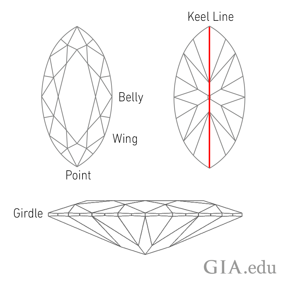 Parts Of A Marquise Diamond Anatomy Belly Wing Point Girdle And