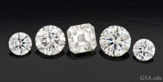 These five CVD synthetic diamonds display the same color and brightness as natural diamonds of comparable quality