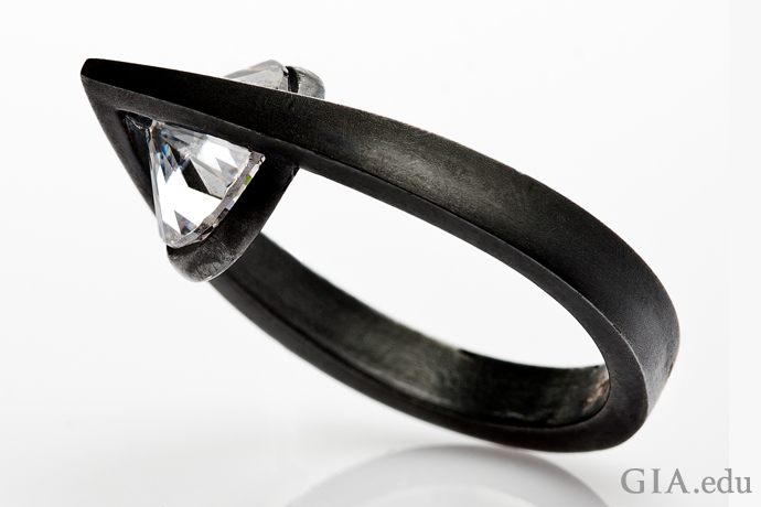 """""""A Drop of Tear"""" ring in oxidized sterling silver with a colorless zircon."""