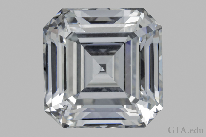 10.02 ct colorless (E-color equivalent), HPHT-grown emerald cut is the largest faceted synthetic diamond reported to date.