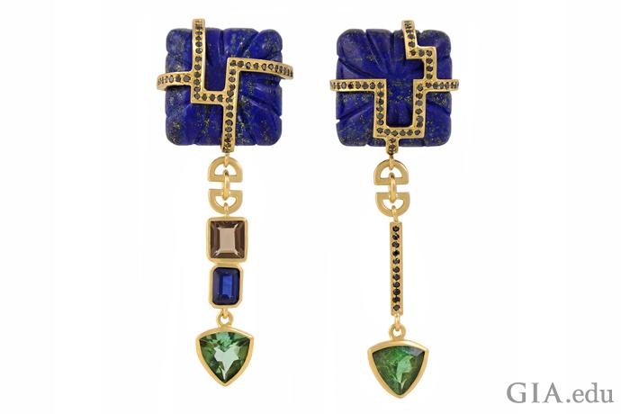 黑色钻石、蓝色蓝宝石、天青色青金石、石英和碧玺材质的不对称耳环,每种宝石只用一颗。