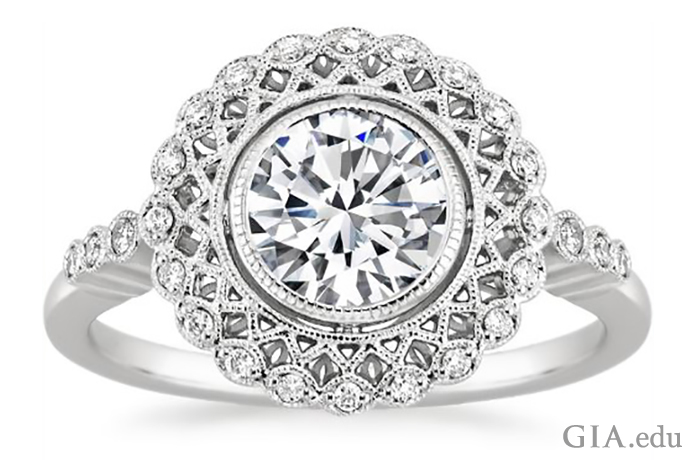 Ring featuring a bezel-set diamond surrounded by latticework and a halo of diamond melee.