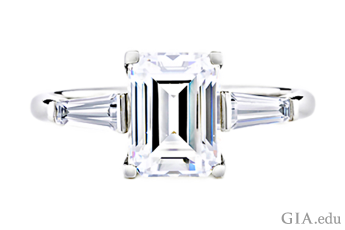 Emerald-cut synthetic diamond ring with slender tapered synthetic diamond baguettes
