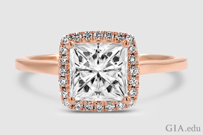 7.5mm synthetic moissanite in 18K rose gold
