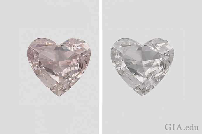 A 1.05 ct diamond owed its apparent Fancy Light brown-pink color to a coating. After the coating was removed by acid cleaning, the diamond was given a color grade of J