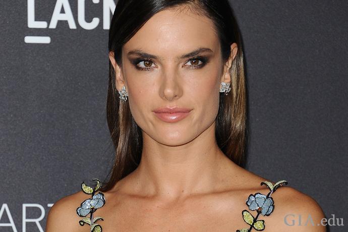 超模Alessandra Ambrosio(亚历山大·安布罗休)身着印花晚礼裙,佩戴Harry Kotlar设计的树叶形钻石耳环,惊艳全场。 Harry Kotlar 版权所有