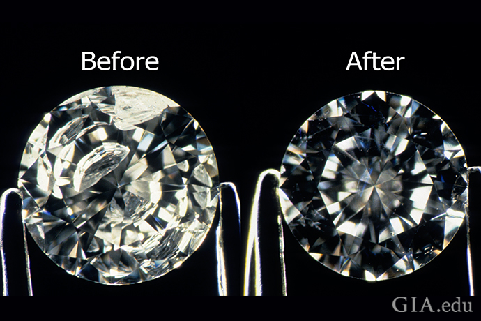 A before and after image of a fractured filled diamond.