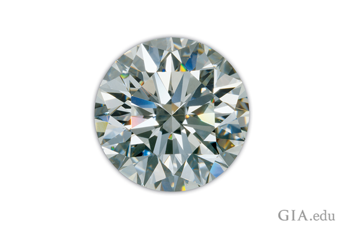 The face-up view of this diamond showcases the beauty of the round brilliant cut.