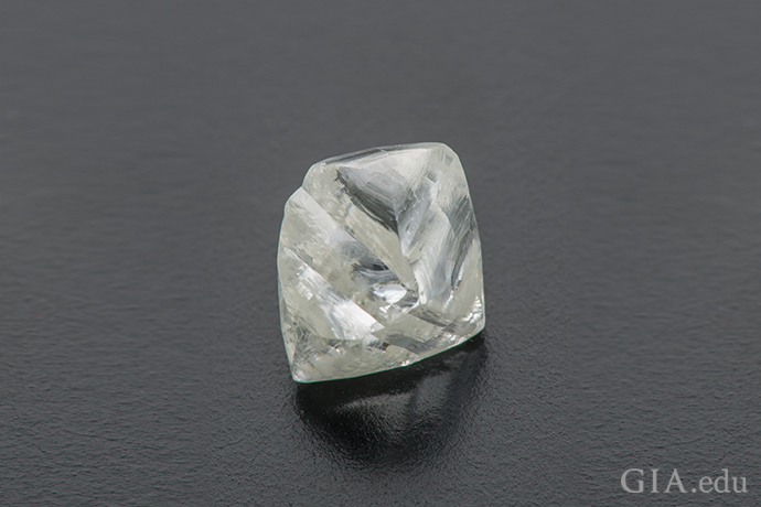 A natural diamond rough in an octahedron shape.