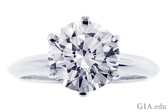 This solitaire engagement ring by Tiffany & Co. features a 2.28 ct round brilliant diamond.