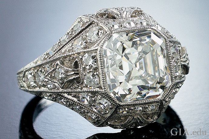 4.5 carat (ct) Asscher cut diamond Edwardian engagement ring is from the Neil Lane Archival Collection.
