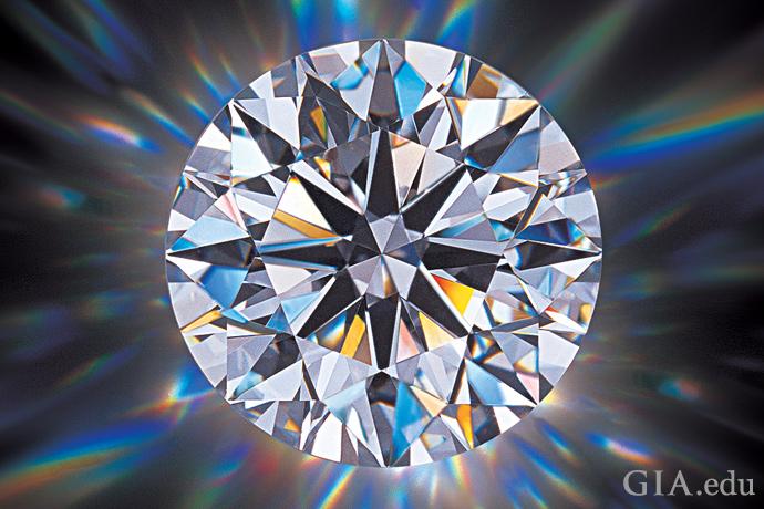 光がスペクトルカラーとなってダイヤモンドから出てくる。
