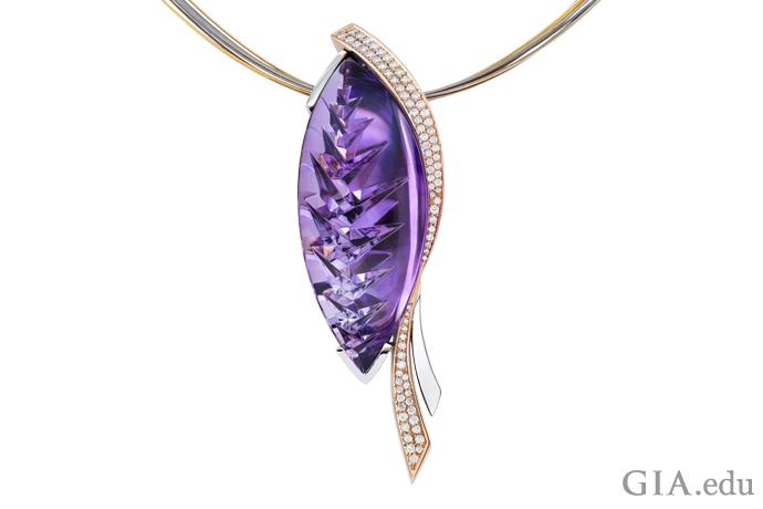 A Striking fantasy cut amethyst pendant.