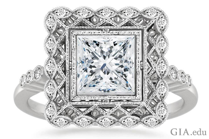 Bezel set princess cut diamond engagement ring