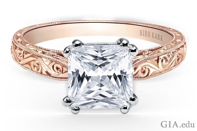 Princess cut engagement ring with scroll engraving, milgrain edging and filigree