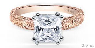 Princess cut engagement ring with scroll engraving, milgrain edging and filigree
