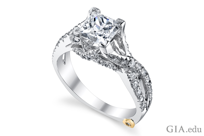 White gold Princess cut engagement ring with pave set accent diamonds