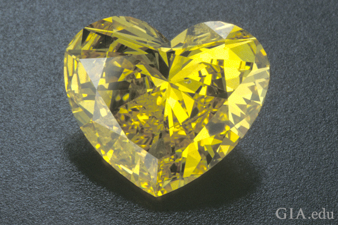 Heart-shaped yellow diamond.