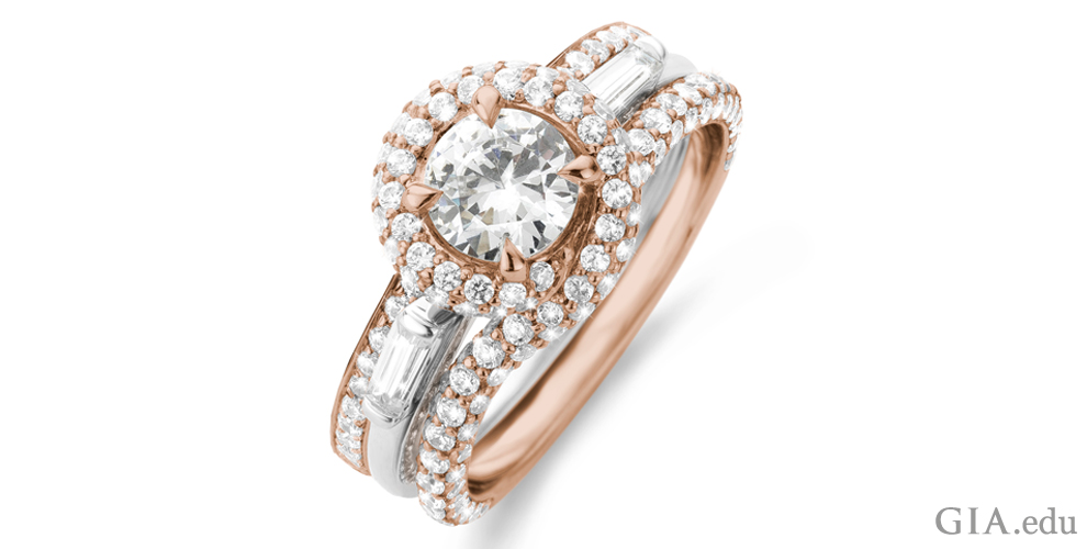 Melee diamond and center stone engagement ring