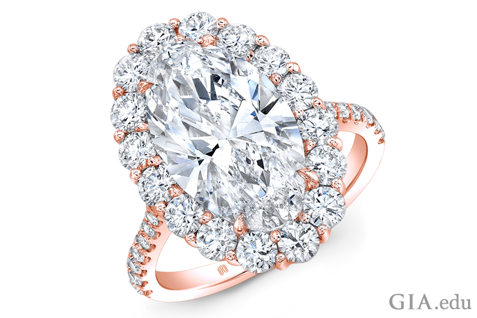 Diamond ring with 5.31 carats of diamonds in a rose gold setting.