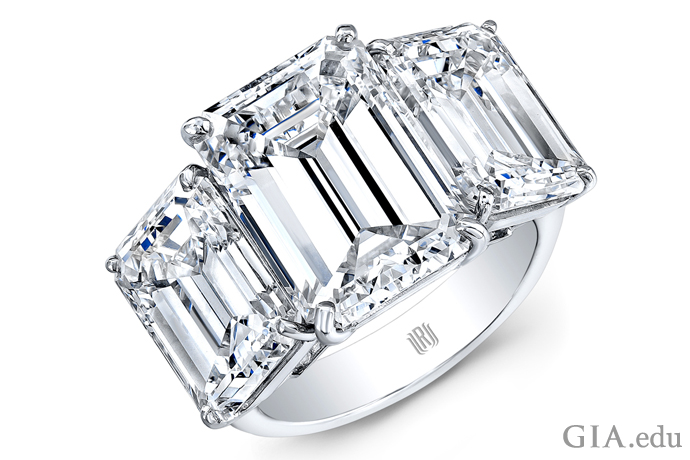 Three stone diamond ring totaling 15 carats.