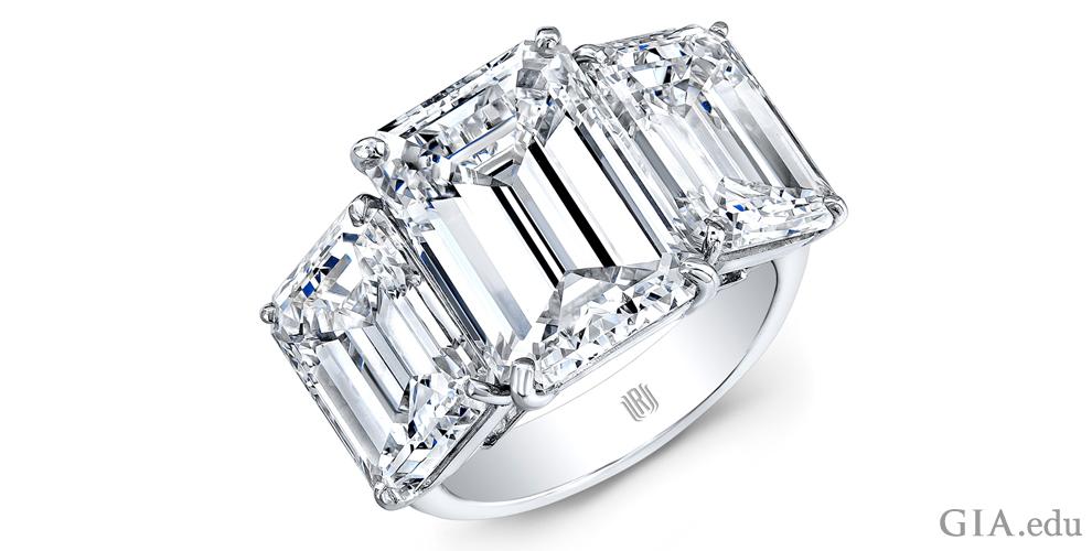 Three stone diamond ring totaling 15 carats.