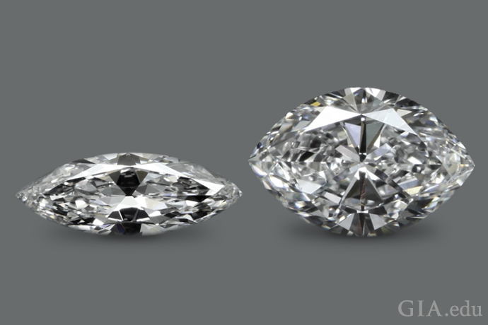 Flat wings contribute to this marquise shaped diamond looking too narrow.