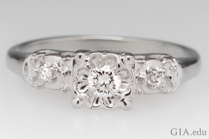 Engagement ring with illusion setting and diamonds with a total weight of 0.12 carats