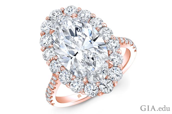 18Kローズゴールドのプロングセッティングのオーバルシェイプ・ダイヤモンド