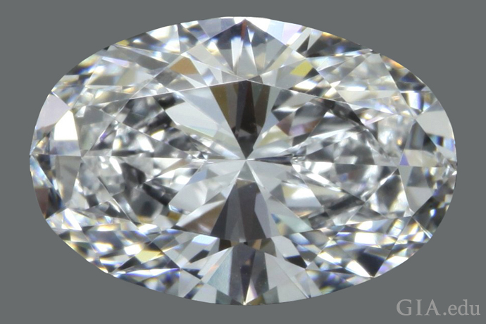 A 2.28 ct oval diamond with a 1.48:1 length-to-width ratio