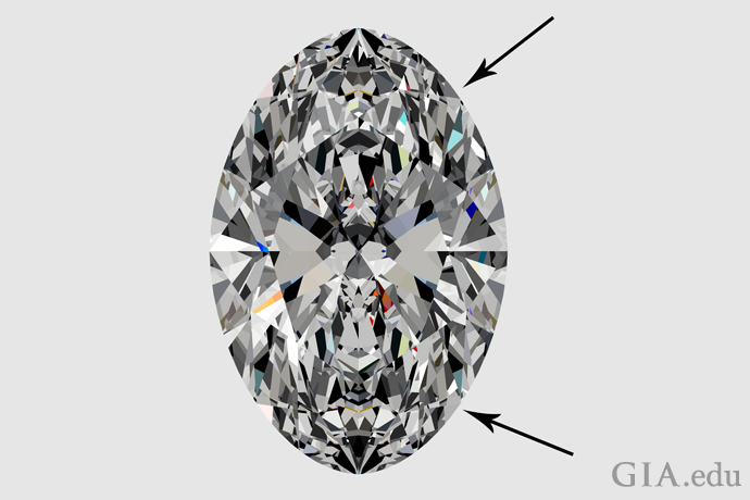 An oval diamond with flat shoulders