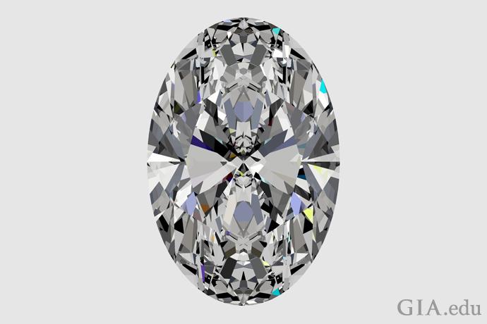 ショルダーに膨らみのないオーバルシェイプ・ダイヤモンド