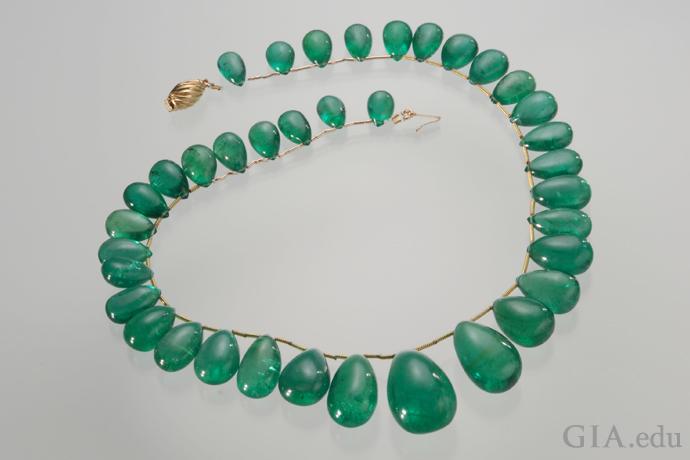 A 240 carat emerald drop necklace