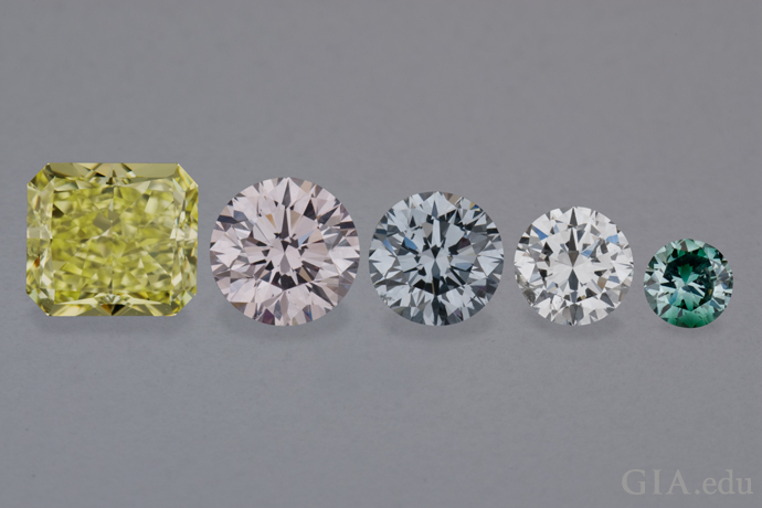 Five fancy color diamonds provide an example of relative diamond size