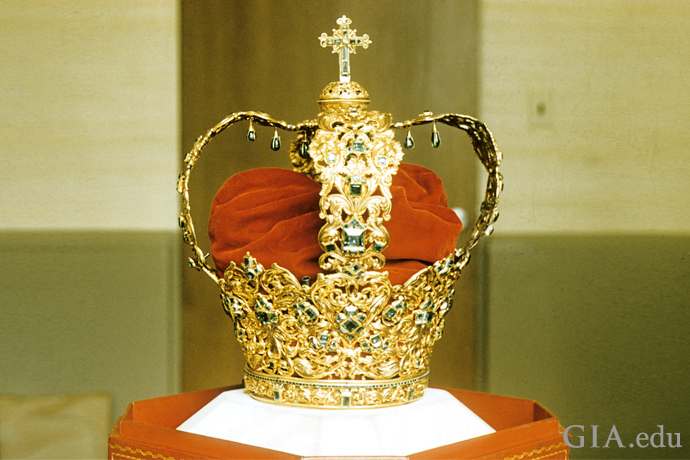 The Crown of the Andes is set with a 24 ct emerald center and 442 additional emeralds
