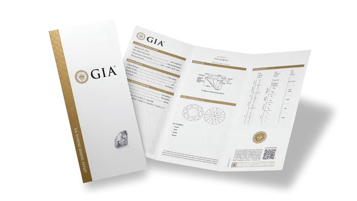 GIA ダイヤモンドグレーディングレポート(レポートの主要部分の見開きと、ラウンドブリリアントカットダイヤモンドが掲載されたレポートの表紙)。