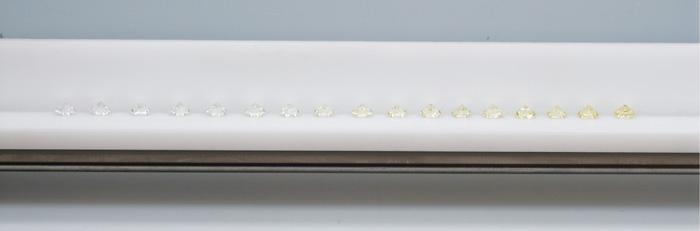 为了给钻石颜色对比提供一个通用的依据,GIA 宝石学家将一组分别代表 GIA 分级标准中不同颜色等级的比色石组合在一起。 比色石组中的每颗比色石都代表一个字母等级。 比色石在分级托盘内按照从左到右的顺序摆放,桌面朝下。