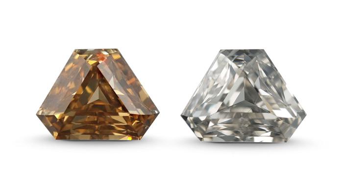 """上图中 6.61 克拉的钻石展示了高温高压 (HPHT) 热锻除色处理前后的宝石外观。 左侧为热锻处理前的钻石,钻石颜色被视为艳彩黄褐色。 右侧为热锻处理后的钻石,颜色等级为""""L""""(微黄)。"""