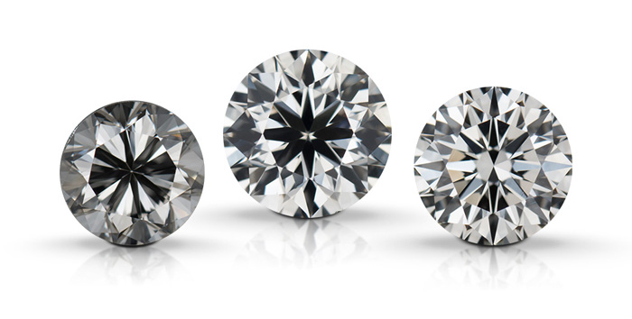 Round brilliant diamonds show how the quality of the diamond's cut affects visual characteristics. The diamonds are positioned in left to right order: Poor cut, Good cut, Excellent Cut.