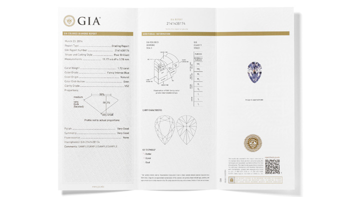 Inside view of a sample GIA Colored Diamond Grading Report - includes colored diamond grades for color and color origin, clarity and carat weight – along with a plotted diagram of its clarity characteristics.