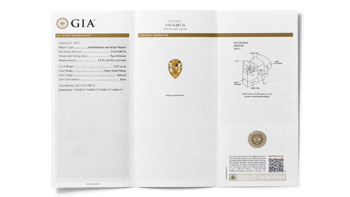 Inside view of a sample GIA Colored Diamond Grading Report - includes colored diamond grades for color and color origin, clarity and carat weight.