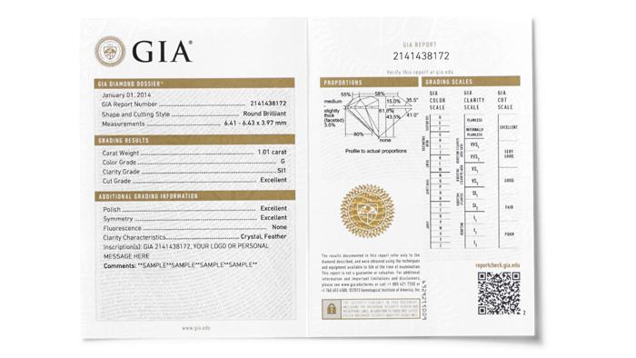 GIA 钻石鉴定精简版证书(GIA Diamond Dossier <sup>®</sup>)包括 4C 标准的评估 — 颜色、净度、切工和克拉重量 — 并用镭射微刻技术在钻石腰围刻上证书编号,以便轻松识别。