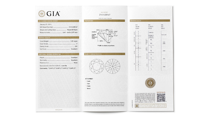 A GIA Diamond Grading Report includes an assessment of the 4Cs – Color, Clarity, Cut and Carat Weight – along with a plotted diagram of its clarity characteristics and a graphic representation of the diamond's proportions. The report also includes the official GIA grading scales for Color, Clarity and Cut as reference tools.